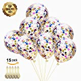 """Arts & Crafts : Confetti Balloons 12"""" Latex Round - Colorful Paper Balloons - Multicolor Confetti Dots Filled Clear Balloons for Birthday Party Christmas Wedding Decorations Holiday and Events Proposal (Pack of 15)"""