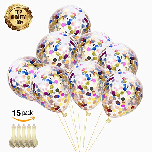 Confetti Balloons 15 Pack Latex Round Colorful Paper Balloons - 12