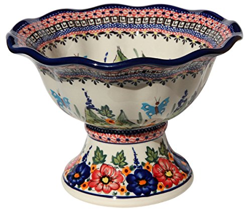 - Polish Pottery Pedestal Bowl From Zaklady Ceramiczne Boleslawiec 1722-149 Art Unikat Siganture Pattern, Dimensions: Height: 6.5