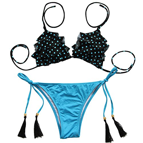 Angerella Womens Sexy Polka Dot Juniors Bikini Set Bathing Suits(BKI029-A3-S)