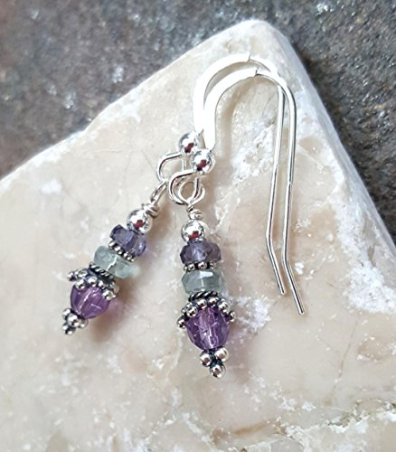 - Amethyst Flourite and Iolite Sterling Silver Earrings