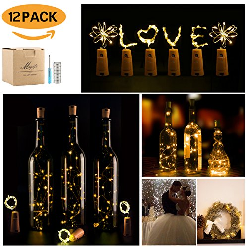 Wine Bottle Lights with Cork,LED Cork Lights for Bottle ,Copper Wire Bottle Lights for DIY, Party, Decor, Christmas, Halloween,Wedding (12Pack, Warm White)