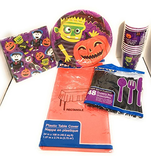 Halloween Kids Party Plate Napkin Cup and Cutlery Set with Orange Table (Homemade Animated Halloween Props)