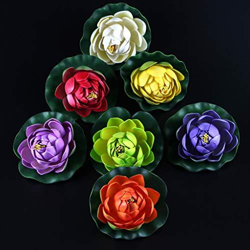 LANDUM-Artificial-Fake-Floating-Water-Lotus-Flower-Fish-Tank-Pond-Yard-Decor-Ornament-Yellow