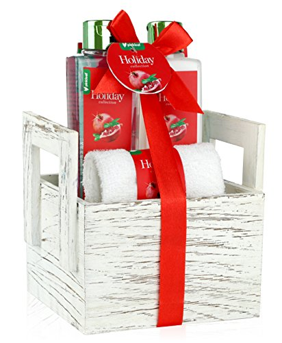 Pomegranate & Coconut Oil Holiday Spa Gift Basket, 4pc Scented Bath & Body Kit in Wooden Vanity Box – Luxury Shower Gel, Lotion, Salts, Soft Washcloth Towel