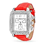 Bling Jewelry Square Deco Style Red Leather Strap Stainless Steel Back Watch