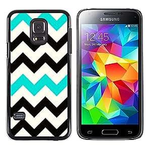Be Good Phone Accessory // Dura Cáscara cubierta Protectora Caso Carcasa Funda de Protección para Samsung Galaxy S5 Mini, SM-G800, NOT S5 REGULAR! // Black Teal White Pattern Clean
