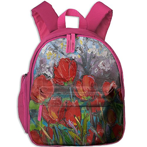 Kid's Pre School Backpack Boy&girl's Spring Tulips With Cherry Blossom Book Bag