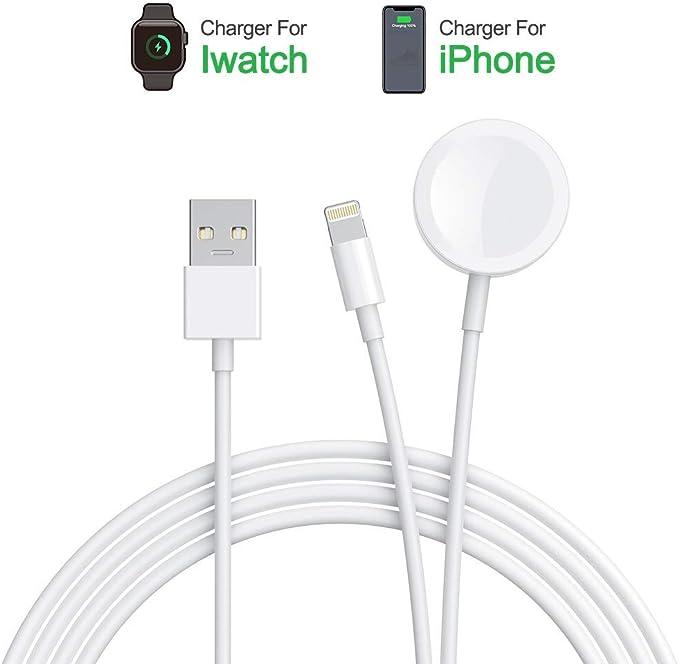 Amatage Cargador de Reloj, 2 en 1 magnético inalámbrico Reloj y Cable de Carga de teléfono Compatible con iWatch Series 4321 3842 mm, teléfono
