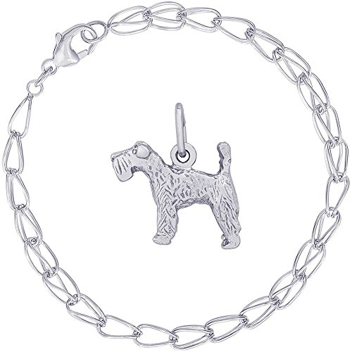 Dog Terrier Blue Charm Kerry (Rembrandt Charms Sterling Silver Kerry Blue Terrier Charm on a Double Twist Bracelet, 7