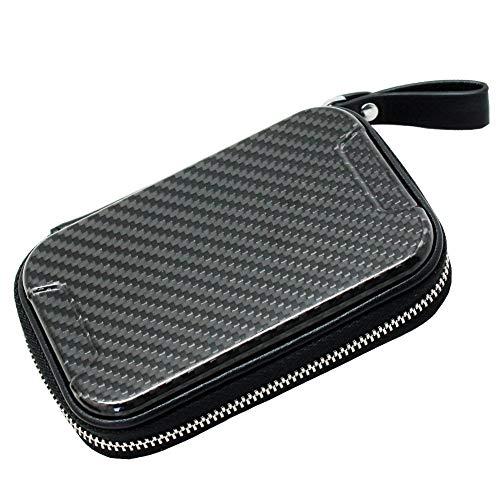Boshiho RFID Blocking Carbon Fiber Credit Card Holder Case Wallet with Zipper Small Accordion Organizer for Men Women (Carbon Fiber)