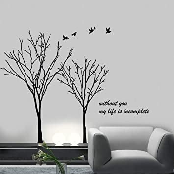 TGSIK DIY Large Trees Black Wall Decals Quotes   Without You My Life Is  Incomplete ?