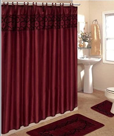 4 Piece Bathroom Rug Set  3 Burgundy Flocking Bath Rugs with Fabric Shower Curtain Amazon com