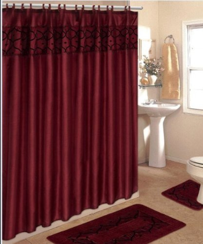 4 Piece Bathroom Rug Set/ 3 Piece Burgundy Flocking Bath Rugs with Fabric Shower Curtain and Matching Mat/rings
