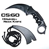 CS:GO Hawkbill Full Tang Fixed Blade Tactical Neck Knife w/ ABS Sheath & Cord (Limited Edition) For Sale
