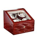 KAIHE-BOX Premium Rectángulo Mute Automático 8 Reloj Winders y cajón , 4 modos de temporizador,hecho a mano, Rose+Blanco , #35
