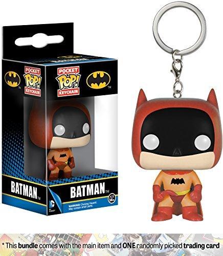 Funko Batman [Orange] Mystery Pocket POP! x The Rainbow Batman Mini-Figural Keychain + 1 Official DC Trading Card Bundle (06432)