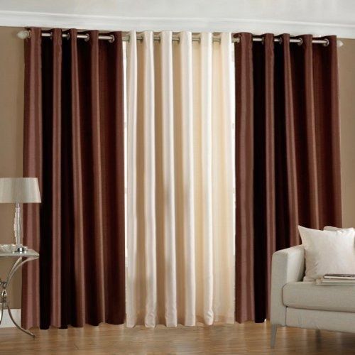 PINDIA 3 PC COMBO Faux Silk Eyelet Door Window Curtain, Polyester Plain Ringtop – 6ft Brown2 Cream1.