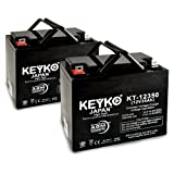 KEYKO Genuine KT-12350 12V 35Ah Battery SLA Sealed Lead Acid / AGM - Replaces 33Ah 34Ah 36Ah Batteries - Nut & Bolt - 2 Pack
