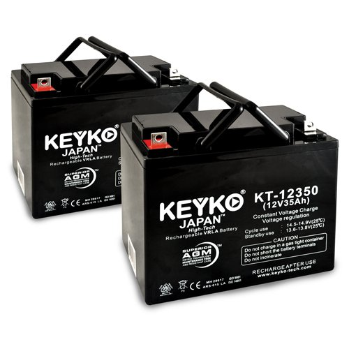 KEYKO Genuine KT-12350 12V 35Ah Battery SLA Sealed Lead Acid / AGM - Replaces 33Ah 34Ah 36Ah Batteries - Nut & Bolt - 2 Pack by KEYKO