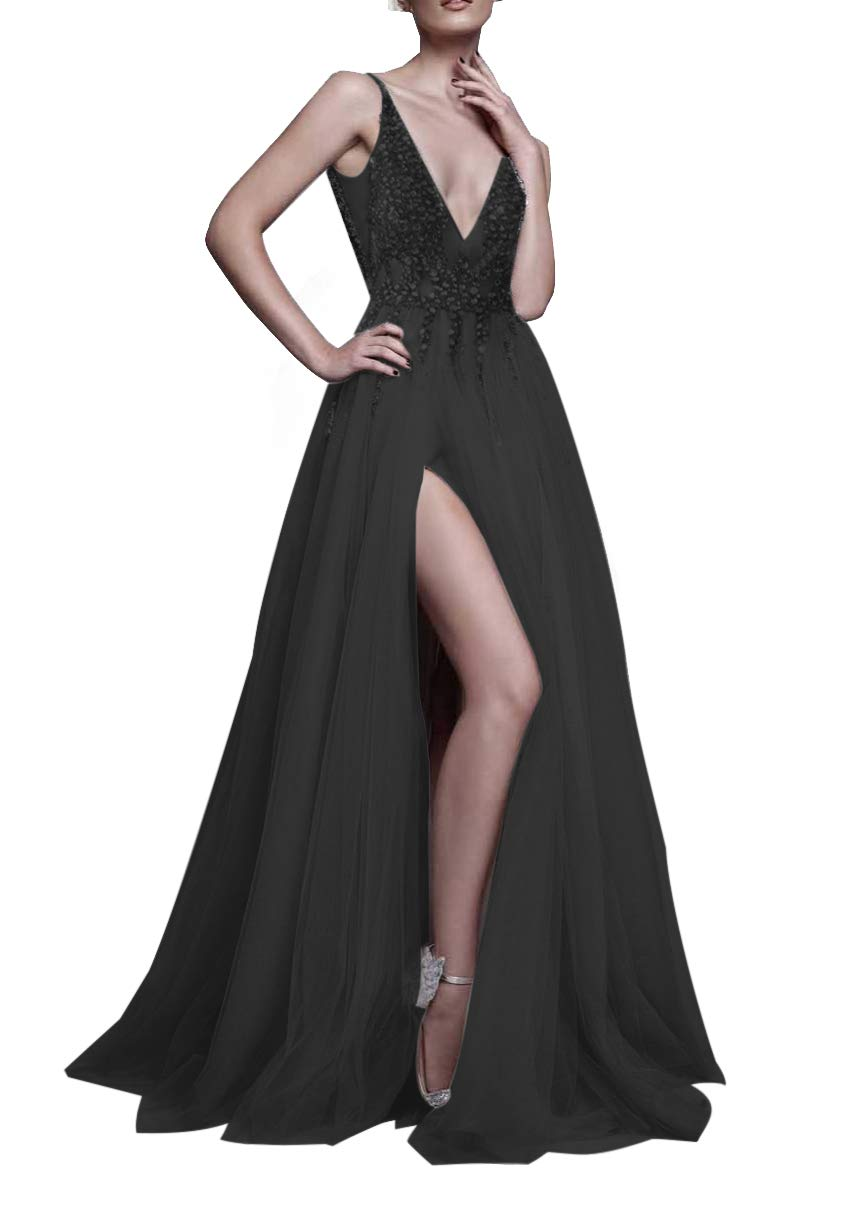 165ee780d956e4 Galleon - 2017 Sexy Gray Prom Dresses With Deep V Neck Sequins Tulle And  Lace Sex High Split Long Evening Dress Party Dresses HFY170503-Black-US10