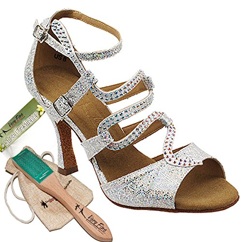 Very Fine Womens Ballroom Salsa Tango Dance Shoe Sera7017 with Shoe Wire Brush in a Pouch Silver 6 M US 3