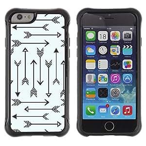WAWU Funda Carcasa Bumper con Absorci??e Impactos y Anti-Ara??s Espalda Slim Rugged Armor -- arrow tribal archery love pattern minimalist -- Apple Iphone 6