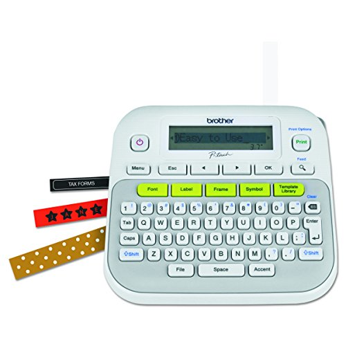 Storage Court Equipment - Brother P-touch, PTD210, Easy-to-Use Label Maker, One-Touch Keys, Multiple Font Styles, 27 User-Friendly Templates, White