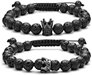 Top Plaza Couple Distance Bracelets Lava Stone Beads Essential Oil Diffuser Adjustable Bracelet with King Quee