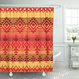 Emvency Shower Curtain Red Native Traditional American Indian Style Aztec Mexican Waterproof Polyester Fabric 72 x 72 inches Set with Hooks