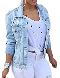 Womens Casual Long Sleeve Button Down Ripped Hole Denim Jackets