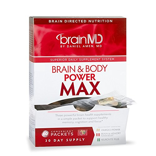 Dr. Amen BrainMD Health, Brain and Body Power Max Dietary Supplement Packet Combination to Support Healthy Memory, Cognition and Focus, 30 Day Supply