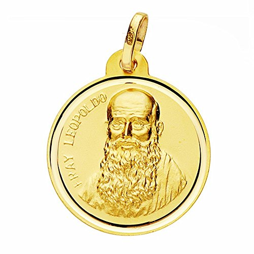 Médaille pendentif Fray Leopoldo de l'or 22mm 18k. lunette lisse [AA2588]