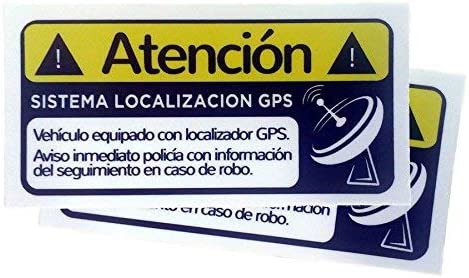 Pack 2 Pegatinas disuasorias localizador GPS vehiculos, Coches Camiones Bicicletas adhieren sobre Superficie Interior Cristal Adhesivos disuasorios localización satelite (Pack 2: Amazon.es: Electrónica