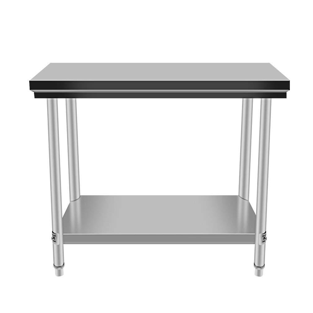 Acero inoxidable trabajo para mesa de hostelería 100 x 60 x 80 cm, estructura reforzada, profesional Gastro Cocina Mesa con estante inferior ...