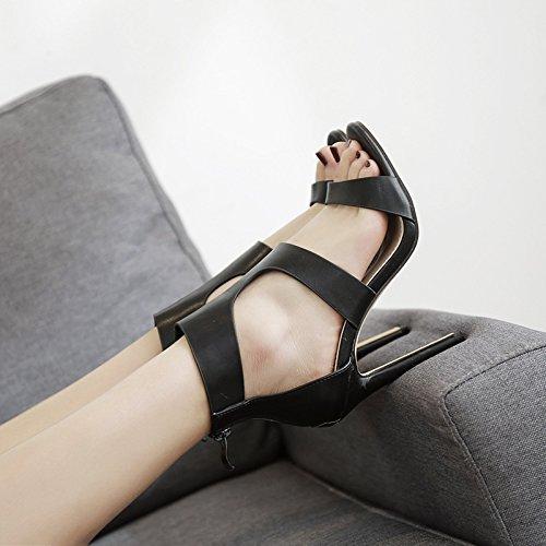 Claro Sandalias 39 de Sandalias expuesta Elegantes Marrón Alto Las Tacón Zapatos de Sexy Elegante y Rosca de Romana y Alto Tacón ZHZNVX xwROAnn