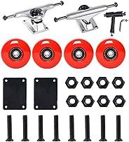 FREEDARE Skateboard Wheels with Bearings 54mm, Skateboard Trucks, Skateboard Tool, Skateboard Riser Pads, Skat
