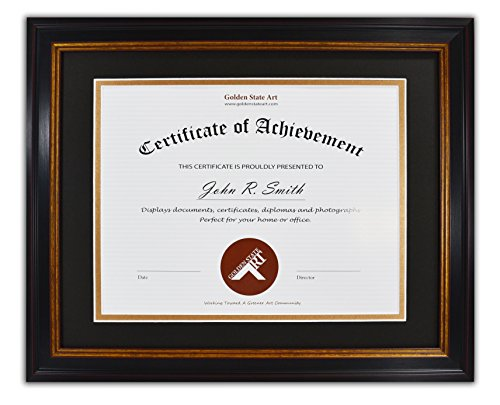 Golden State Art, 11x14 Frame for 8.5x11 Diploma / Certificate, Black Gold & Burgundy color. Includes Black Over Gold Double Mat and Real - Frames Golden