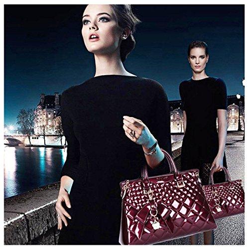 portable à à luxe mode Lingge main sac décontractés sacs SANSJI main Rouge cuir bandoulière atmosphérique verni Vin épaule en YwPEx85q