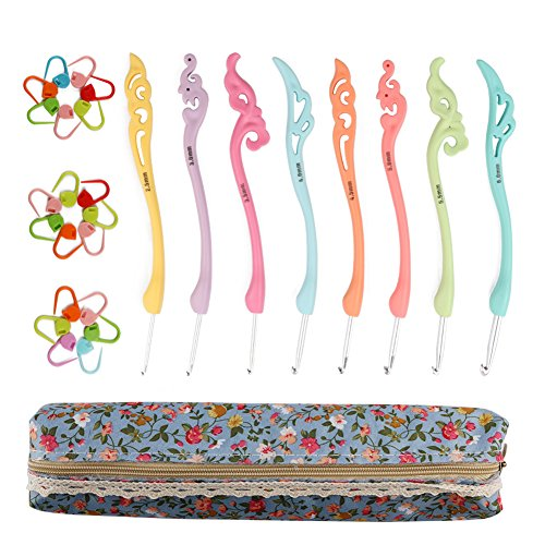 NABLUE 8pcs Colorful Crochet Hooks Set,Retro Crochet Hooks Knitting Needles Set,Ergonomic Grip Handle With Case