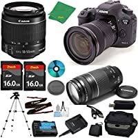 Canon EOS 7D Mark II Camera with 18-55mm IS STM Lens + 75-300mm III Zoom + 2pcs 16GB Memory + Camera Case + Card Reader + Professional Tripod + 6pc Starter Set - International Version