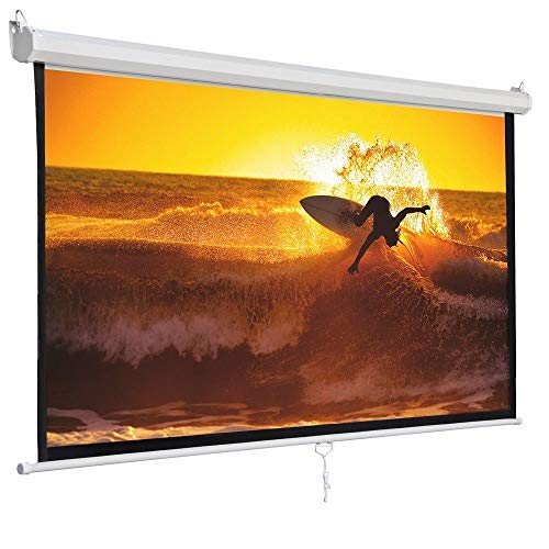 - Safstar Manual Pull Down Projection Screen with Auto-Lock, Wall & Ceiling Installation Home Theater Office Presentation 1:1 Projector Screen Square 84
