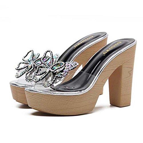 SHEO sandalias de tacón alto Rhinestones transparentes de las mujeres con las zapatillas gruesas de las palabras Negro