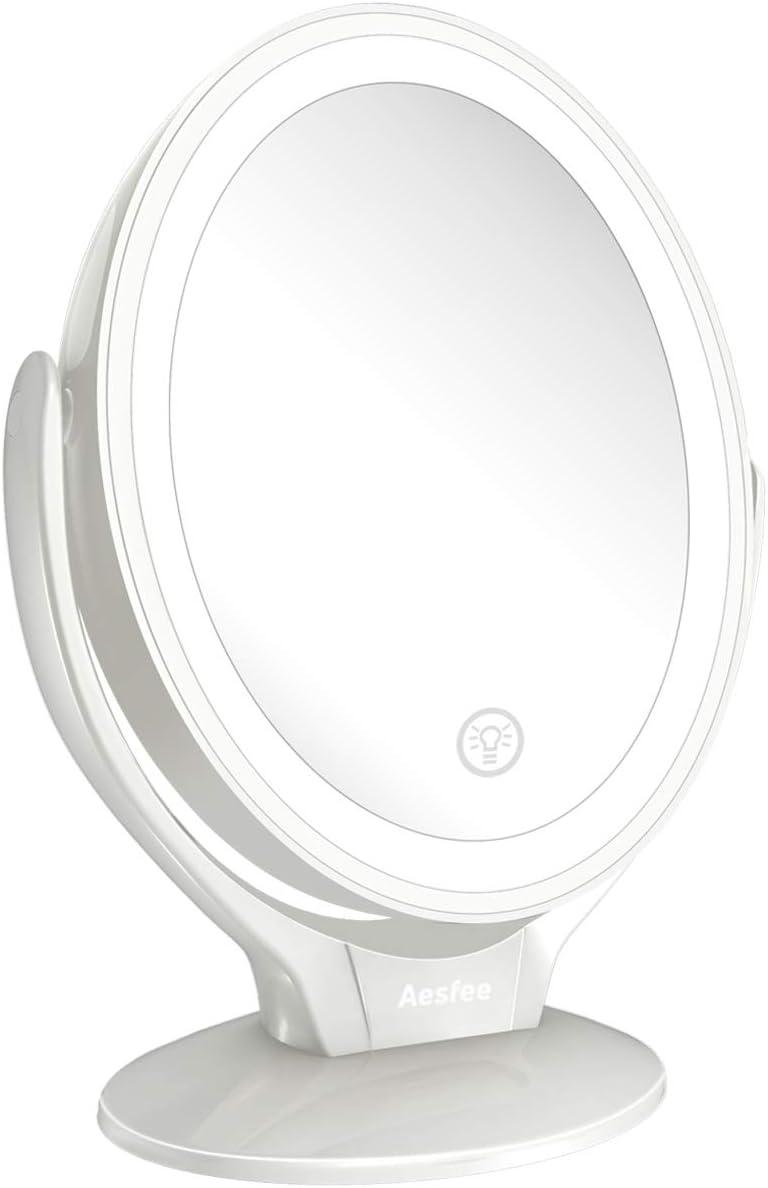 Espejo de Maquillaje de Doble Cara con Luces LED, Espejo Maquillaje de Aumento 1x/7x con Rotación de 360°, Pantalla Táctil Ajustable de Brillo, Recargable, Espejo iluminador Portátil para Viajes …