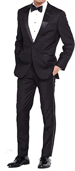 New Mens Black Tuxedo Trousers High End 100/% Wool Pleated Pants Tux Slacks