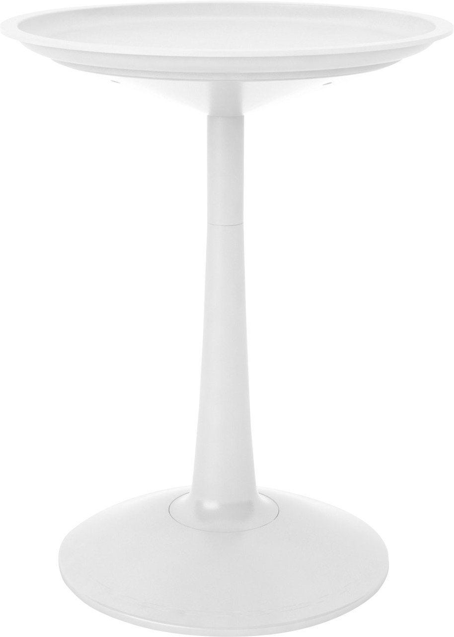 22.4'' Round White Pedestal Table with Tulip Base and an Adjustable Height of 29'' or 23''