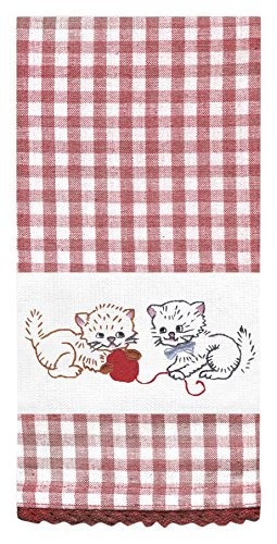 Design Works Crafts T212952 Tobin Stamped Kitchen Towels For Embroidery,  Kitten Fun, 18u0026quot;