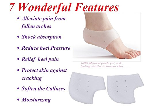 HappyStep® 1 Paar Weiß Silikon Fußpflege Moisturizing Gel Fersen Socken, Gel Ferse Sleeve, Gel Ferse Kissen mit Air Löcher, Gel Fersenschutz Socken für Cracked Fuß Hautpflege-Schutz-Fuss Pediküre Pflege