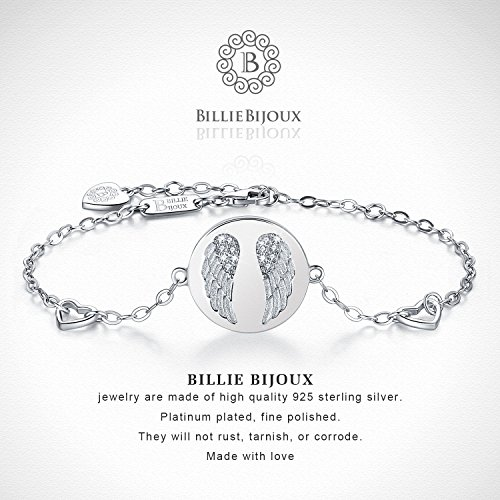 Billie Bijoux 925 Sterling Silver Women Angel Wings Charm Adjustable Bracelet White Gold Plated Best Gift for Graduation, Christmas, Mother's Day and Birthday by Billie Bijoux (Image #3)