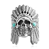 Bishilin Men's Ring Silver Plated Indian Skull with Turquoise Friendship Rings Silver Size 9
